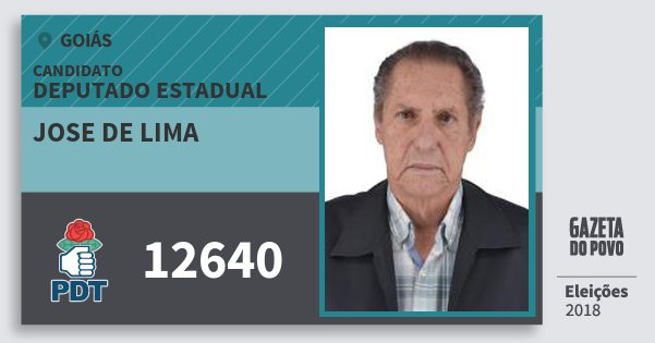 Santinho Jose de Lima 12640 (PDT) Deputado Estadual | Goiás | Eleições 2018