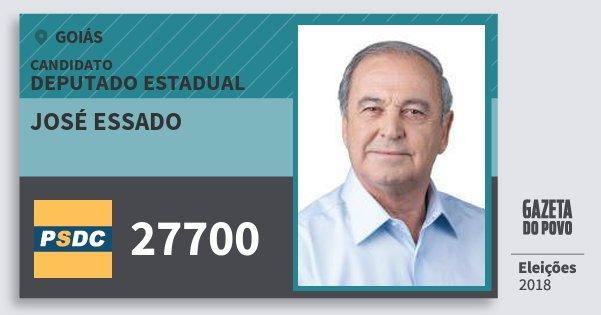 Santinho José Essado 27700 (DC) Deputado Estadual | Goiás | Eleições 2018