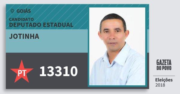 Santinho Jotinha 13310 (PT) Deputado Estadual | Goiás | Eleições 2018