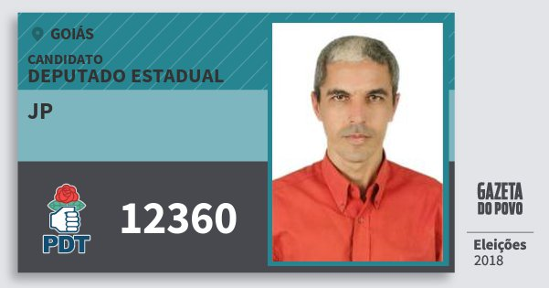 Santinho Jp 12360 (PDT) Deputado Estadual | Goiás | Eleições 2018