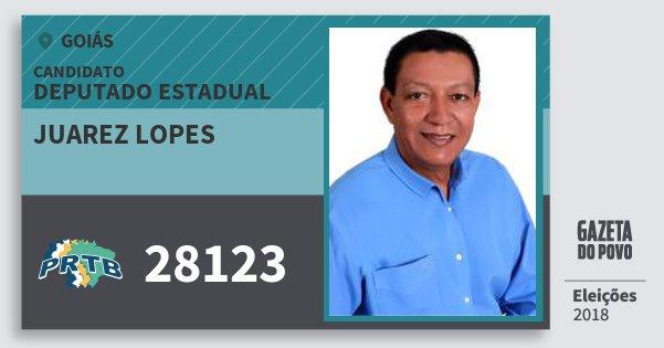 Santinho Juarez Lopes 28123 (PRTB) Deputado Estadual | Goiás | Eleições 2018