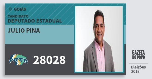 Santinho Julio Pina 28028 (PRTB) Deputado Estadual | Goiás | Eleições 2018