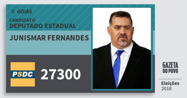 Santinho Junismar Fernandes 27300 (DC) Deputado Estadual | Goiás | Eleições 2018
