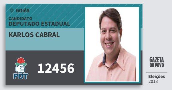 Santinho Karlos Cabral 12456 (PDT) Deputado Estadual | Goiás | Eleições 2018