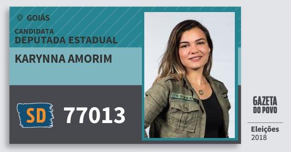 Santinho Karynna Amorim 77013 (SOLIDARIEDADE) Deputada Estadual | Goiás | Eleições 2018