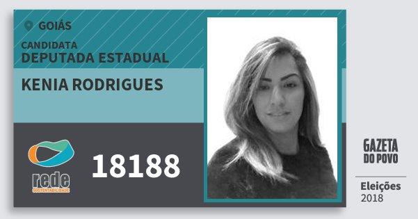 Santinho Kenia Rodrigues 18188 (REDE) Deputada Estadual | Goiás | Eleições 2018