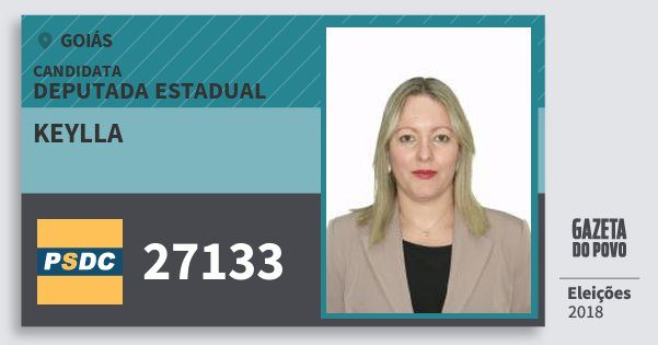 Santinho Keylla 27133 (DC) Deputada Estadual | Goiás | Eleições 2018