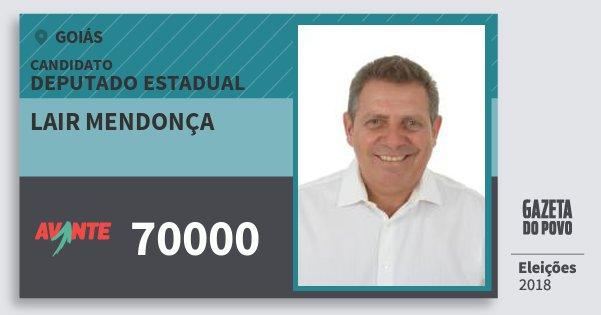 Santinho Lair Mendonça 70000 (AVANTE) Deputado Estadual | Goiás | Eleições 2018