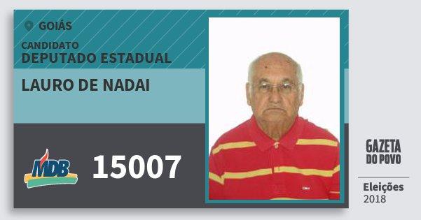 Santinho Lauro de Nadai 15007 (MDB) Deputado Estadual | Goiás | Eleições 2018