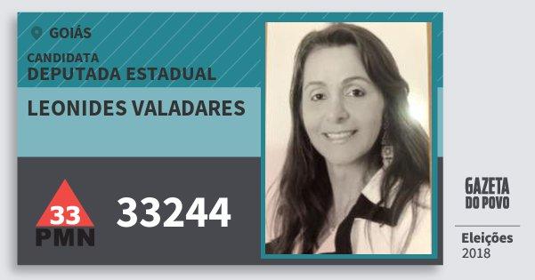Santinho Leonides Valadares 33244 (PMN) Deputada Estadual | Goiás | Eleições 2018