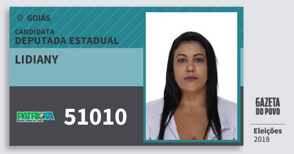 Santinho Lidiany 51010 (PATRI) Deputada Estadual | Goiás | Eleições 2018