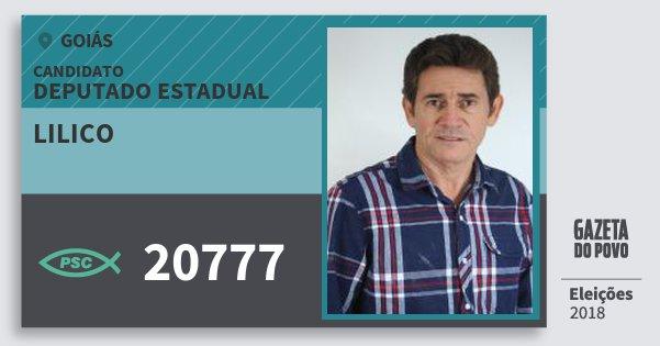 Santinho Lilico 20777 (PSC) Deputado Estadual | Goiás | Eleições 2018