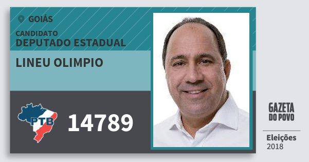 Santinho Lineu Olimpio 14789 (PTB) Deputado Estadual | Goiás | Eleições 2018