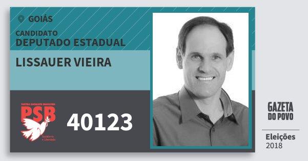 Santinho Lissauer Vieira 40123 (PSB) Deputado Estadual | Goiás | Eleições 2018