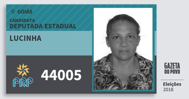 Santinho Lucinha 44005 (PRP) Deputada Estadual | Goiás | Eleições 2018