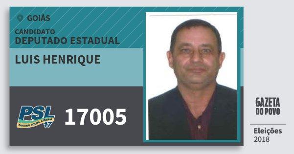 Santinho Luis Henrique 17005 (PSL) Deputado Estadual   Goiás   Eleições 2018