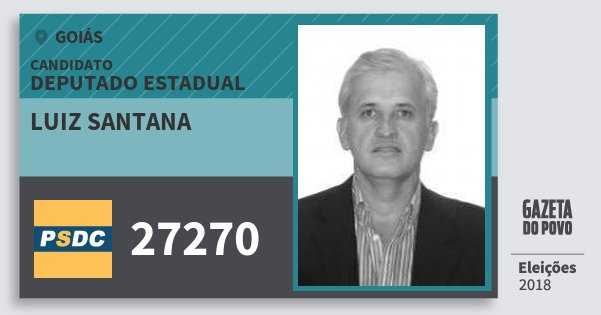 Santinho Luiz Santana 27270 (DC) Deputado Estadual | Goiás | Eleições 2018
