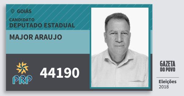 Santinho Major Araujo 44190 (PRP) Deputado Estadual | Goiás | Eleições 2018