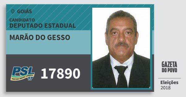 Santinho Marão do Gesso 17890 (PSL) Deputado Estadual | Goiás | Eleições 2018