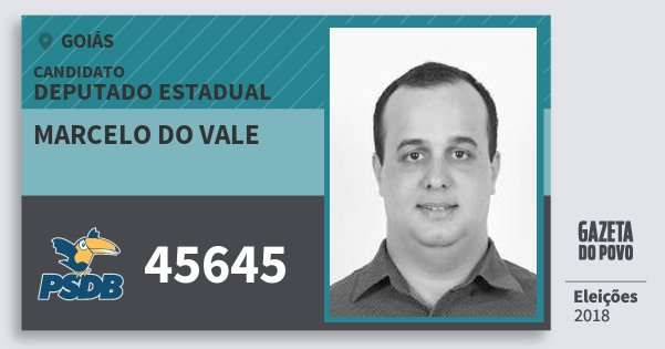 Santinho Marcelo do Vale 45645 (PSDB) Deputado Estadual | Goiás | Eleições 2018