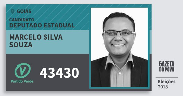 Santinho Marcelo Silva Souza 43430 (PV) Deputado Estadual | Goiás | Eleições 2018