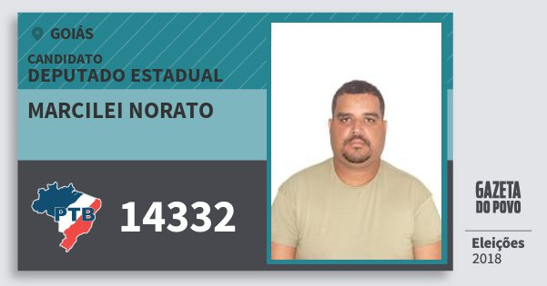 Santinho Marcilei Norato 14332 (PTB) Deputado Estadual | Goiás | Eleições 2018