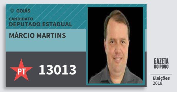 Santinho Márcio Martins 13013 (PT) Deputado Estadual | Goiás | Eleições 2018