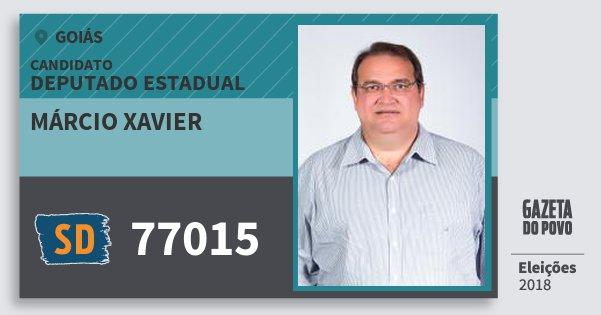 Santinho Márcio Xavier 77015 (SOLIDARIEDADE) Deputado Estadual | Goiás | Eleições 2018
