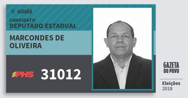 Santinho Marcondes de Oliveira 31012 (PHS) Deputado Estadual | Goiás | Eleições 2018