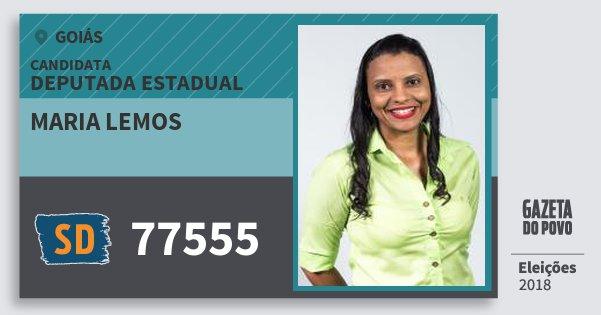 Santinho Maria Lemos 77555 (SOLIDARIEDADE) Deputada Estadual | Goiás | Eleições 2018