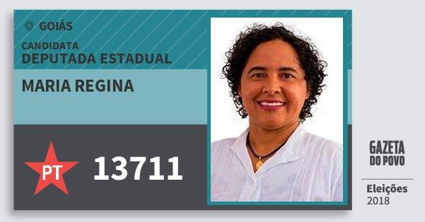 Santinho Maria Regina 13711 (PT) Deputada Estadual | Goiás | Eleições 2018
