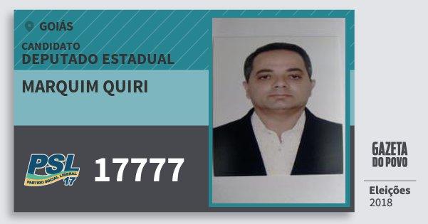 Santinho Marquim Quiri 17777 (PSL) Deputado Estadual | Goiás | Eleições 2018