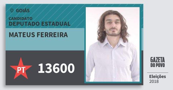 Santinho Mateus Ferreira 13600 (PT) Deputado Estadual | Goiás | Eleições 2018