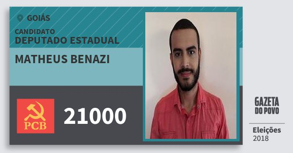 Santinho Matheus Benazi 21000 (PCB) Deputado Estadual | Goiás | Eleições 2018