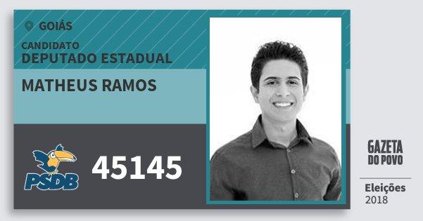 Santinho Matheus Ramos 45145 (PSDB) Deputado Estadual | Goiás | Eleições 2018