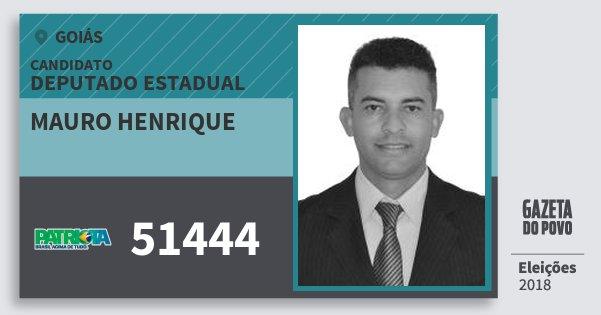 Santinho Mauro Henrique 51444 (PATRI) Deputado Estadual | Goiás | Eleições 2018