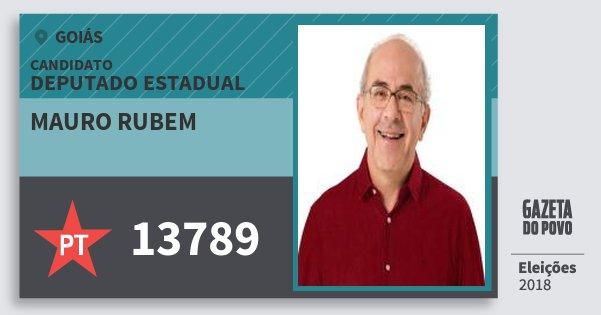 Santinho Mauro Rubem 13789 (PT) Deputado Estadual | Goiás | Eleições 2018
