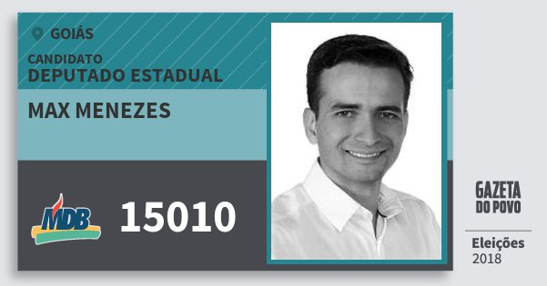 Santinho Max Menezes 15010 (MDB) Deputado Estadual | Goiás | Eleições 2018