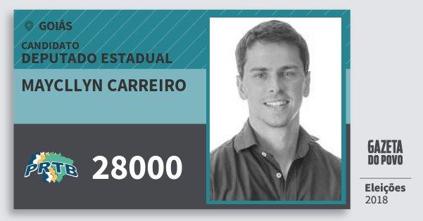 Santinho Maycllyn Carreiro 28000 (PRTB) Deputado Estadual | Goiás | Eleições 2018