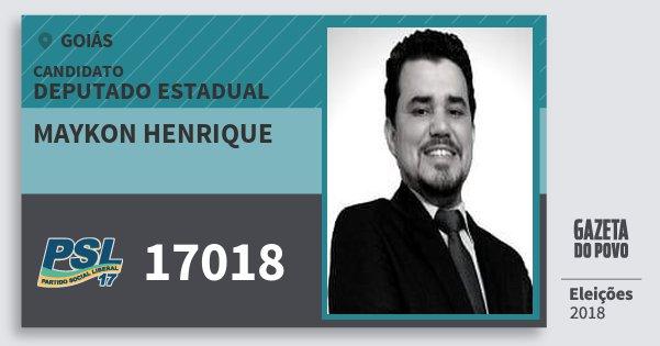 Santinho Maykon Henrique 17018 (PSL) Deputado Estadual | Goiás | Eleições 2018