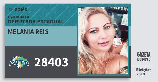 Santinho Melania Reis 28403 (PRTB) Deputada Estadual | Goiás | Eleições 2018
