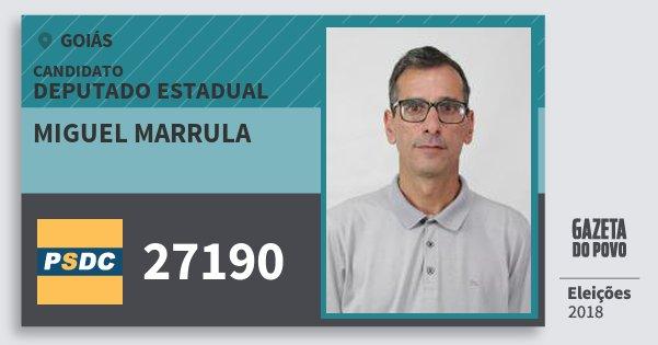 Santinho Miguel Marrula 27190 (DC) Deputado Estadual | Goiás | Eleições 2018