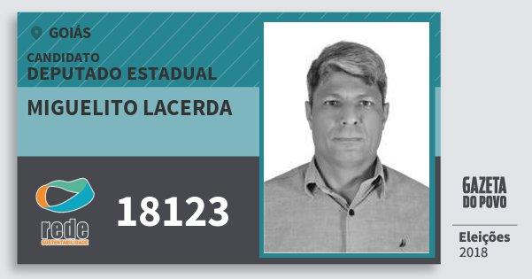 Santinho Miguelito Lacerda 18123 (REDE) Deputado Estadual | Goiás | Eleições 2018
