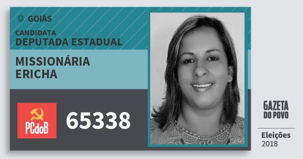 Santinho Missionária Ericha 65338 (PC do B) Deputada Estadual | Goiás | Eleições 2018