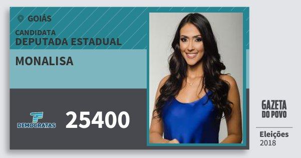 Santinho Monalisa 25400 (DEM) Deputada Estadual | Goiás | Eleições 2018