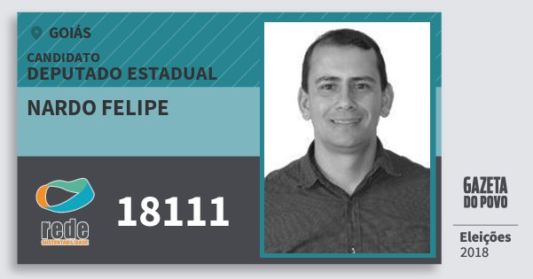 Santinho Nardo Felipe 18111 (REDE) Deputado Estadual | Goiás | Eleições 2018
