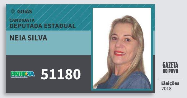Santinho Neia Silva 51180 (PATRI) Deputada Estadual | Goiás | Eleições 2018