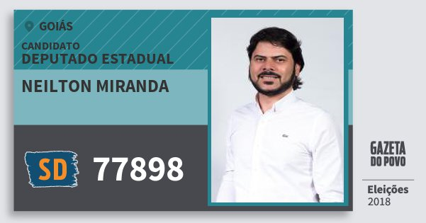Santinho Neilton Miranda 77898 (SOLIDARIEDADE) Deputado Estadual | Goiás | Eleições 2018