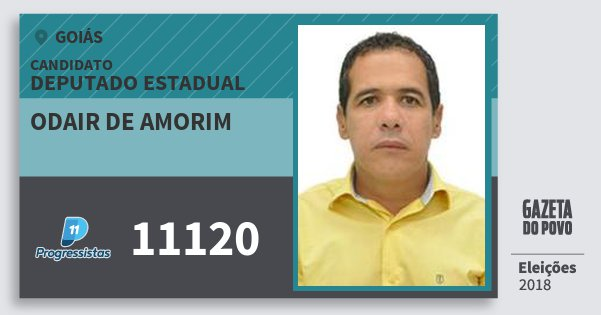 Santinho Odair de Amorim 11120 (PP) Deputado Estadual | Goiás | Eleições 2018
