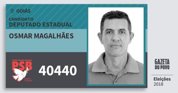 Santinho Osmar Magalhães 40440 (PSB) Deputado Estadual | Goiás | Eleições 2018